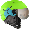 Cébé Fireball JUNIOR kask z szybą goglami w komplecie na narty snowboard 2w1 Juniorski kask narciarski matt lime blue/orange flash mirror