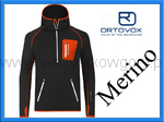 Ortovox Merino Fleece Zip Neck Hoody Men black raven bluza CZARNA NA NARTY Z KAPTUREM